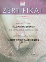 "Zertifikat: dobi Beautyacademy Ausbildung ""Naildesignerin Acryl"""